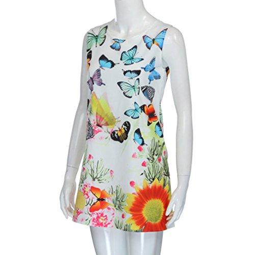 Bekleidung Longra Vintager Damen Sommerkleider Boho Frauen Ärmellos Strandkleid kurzes Minikleid mit Blumenmuster E