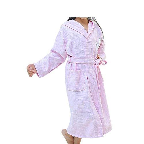 Meijunter Children Kinder Baumwolle Bademantel Terry Frottier Kapuze Robe Kleid Pyjama Schlafanzüge Gürtel Einstellbar Lange Ärmel (Plüsch Terry Hose)
