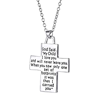WYFDM Kreuz Schriftzug Halskette, weibliche Schmuck Kreuz Anhänger Halskette Fußabdrücke hängen Schriftzug Mutter Thanksgiving Geschenk,Text