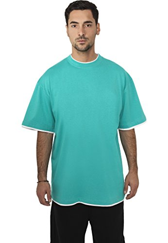Urban Classics TB029A Herren T-shirt Bekleidung Contrast , Turquoise/White