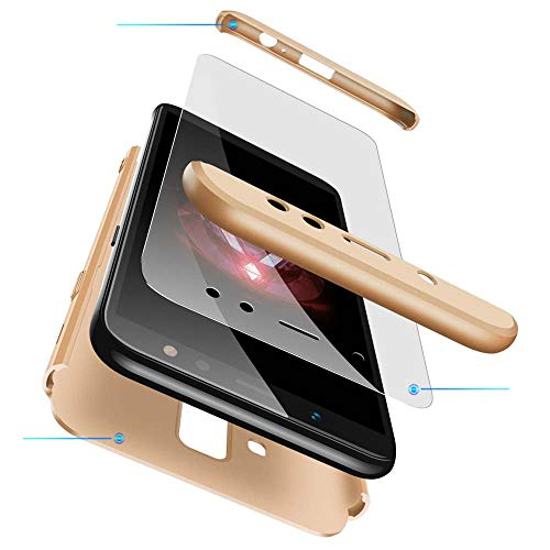 cmdkd Samsung Galaxy A6 Plus 2018 Hülle, Hardcase 3 in 1 Handyhülle 360 Grad Hülle Full Cover Case Komplett Schutzhülle Glatte Bumper + Panzerglas für Samsung Galaxy A6 Plus 2018,Gold