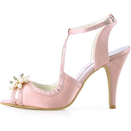 Elegantpark EP11058 Bout Ouvert Satin Perle Strass Aiguille Talon Pumps Femme Sandales Chaussures de Mariage Rose