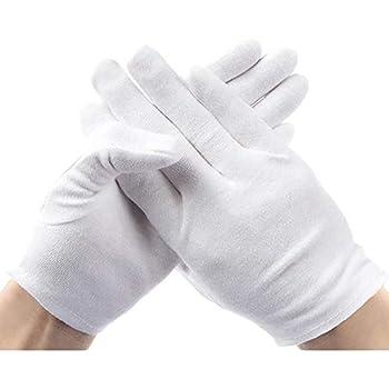 Rovtop 10 Paar Weiße Handschuhe Baumwolle Größe XL Stoff Weiss,...