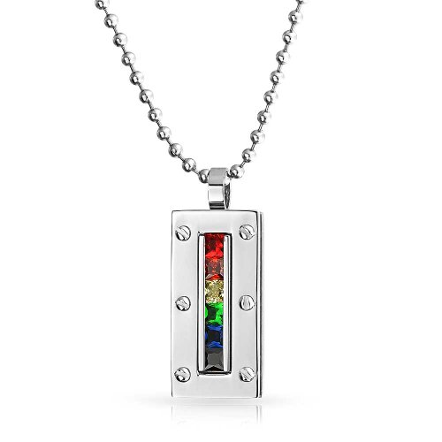 Bling Jewelry Gay Pride CZ Rainbow Dog Tag Anhänger aus Edelstahl Halskette 20 Zoll