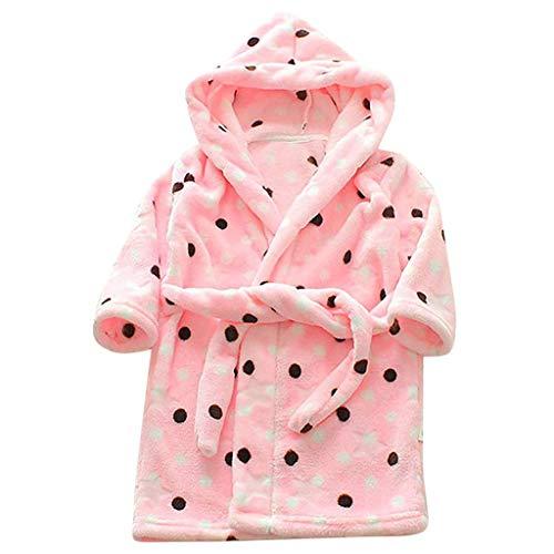 KPILP Unisex Kinderbabydruck Flanell Nachtwäsche Bademäntel Warmer Hoodie Handtuch Schlafanzug Fleecebademantel Nachthemd(Rosa,100