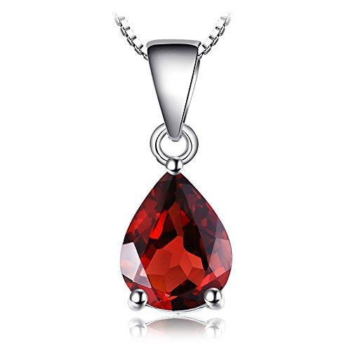 JewelryPalace Birne 2.2ct Natürlicher roter Granat Birthstone Solitaire Anhänger 925 Sterling Silber -