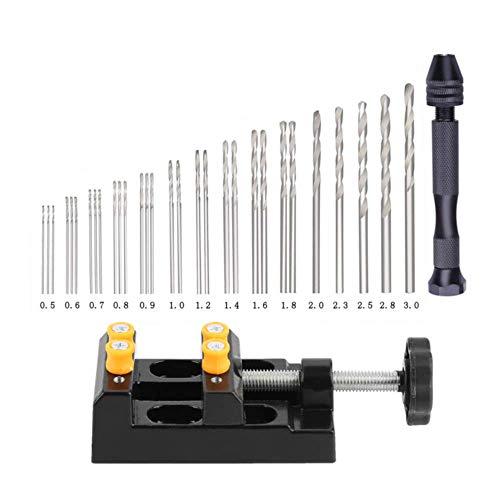 Präzisions-Stift-Schraubstock Set mit Handdreh-Bits mit Mini-Schnitzklemme, 31 Teile, Schraubstock Drehwerkzeuge für Modelle Holz DIY Bohrwerkzeug