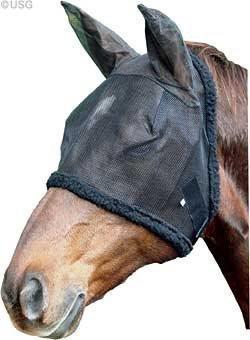 USG Fliegenmaske, sw., mit Ohrenschutz, Pony
