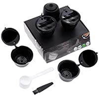 Lictin 3pcs Reusable Refillable Coffee Capsules with 1 Plastic Spoon and 1 Brush For Dolce Gusto