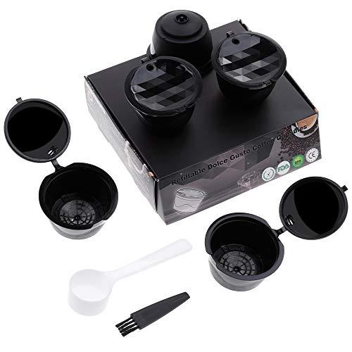 Lictin Version Mejorado Pack de 5 Cápsulas Filtros de café recargable reutilizable con Presión Aumendada para cafetera Dolce Gusto vida útil más de 150 usos sustitucion de cápsula de café Dolce Gusto