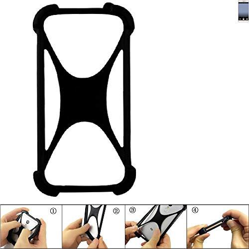 K-S-Trade Handyhülle für TP-LINK Neffos C7 Schutz Hülle Silikon Bumper Cover Case Silikoncase TPU Softcase Schutzhülle Smartphone Stoßschutz, schwarz (1x)
