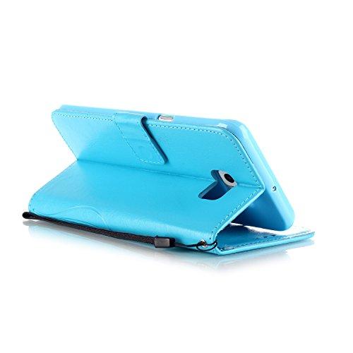 CaseHome iPhone 7 Plus 5.5'' PU-Leder Etui Schmetterling Blume Geprägt Muster Gedruckt Entwurf Stoßfest Brieftasche Fall Stand-Funktion Folio Buch-Art Flip Magnetische (mit Frei Schirm-Schutz) Ganzkör Blau