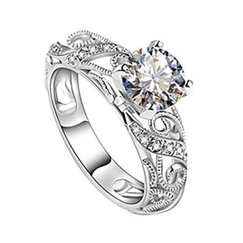 (Ausverkauf. Frauen Mädchen 2018Fashion Hochzeit Verlobungsring Braut Ringe Mingfa Elegante Schnitt Diamant mit Vier Claw Band Ringe Statement Schmuck, Legierung, Silber, 6)