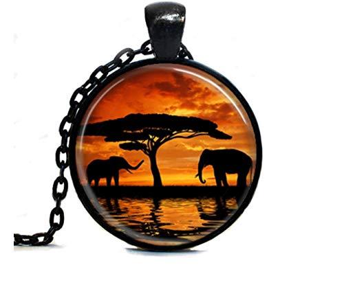 GUHUA Moderno Collar De Elefantes Anochecer Redondo Joyas Animales Salvajes Colgante Vida...
