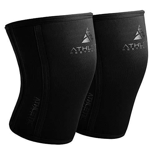 Kniebandage 7mm [im Paar] - Performance Knee Sleeves + Grundübungs Guide fürs Krafttraining, Powerlifting, Gewichtheben & Crossfit - Kompressions Kniebandagen für mehr Leistung, Wärme & Unterstützung