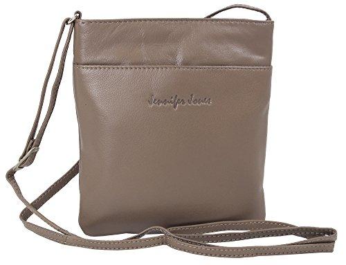 en Damen 100% Leder Damentasche Handtasche Schultertasche Umhängetasche Tasche klein Crossbody Bag grau / schwarz / taupe (6124) (Taupe) ()