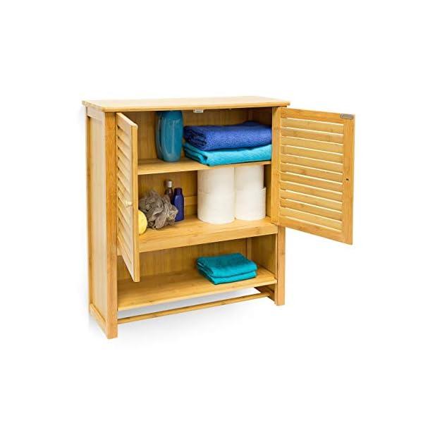 Relaxdays – Estante de Pared con Armario LAMELL, bambú, 66 x 62 x 20 cm, Cuarto de baño, 2 Puertas Color Natural