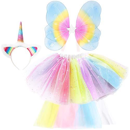 Girlzone regalo ragazza -costume da unicorno per bambina travestimento arcobaleno con cerchietto, ali, coda e tutù - costume bambina unicorno - costumi carnevale bambine 3-7 anni