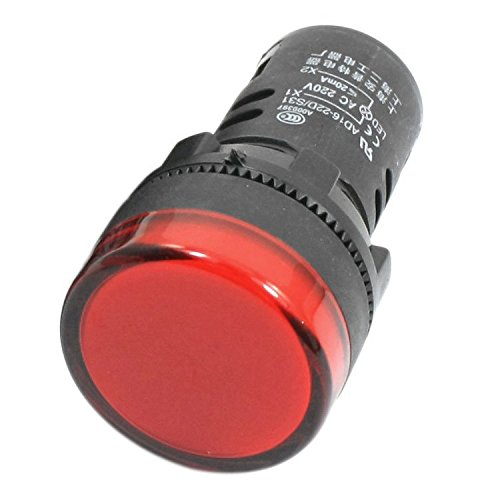 Signallampe - SODIAL(R) 2 Stueck AD16-22D/ S 21mm Gewinde Rote LED Kunststoff Signal Pilot Lampe AC 220V (Rot Lampe Pilot)