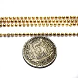 Beadsnfashion Jewellery Making Metal ball Chain Golden (Link size 1.5 mm), length 2 Mtr