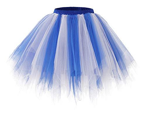 bridesmay Tutu Damenrock Tüllrock 50er Kurz Ballet Tanzkleid Unterkleid Cosplay Crinoline Petticoat für Rockabilly Kleid Royal White M