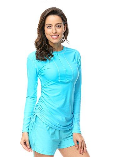 Damen UV Shirt Rash Guard long Sleeve Schwimmshirt Blau M