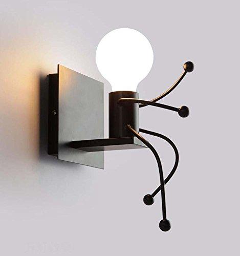Glight Lámpara de Pared Moderna, Personalidad Creativa Simple Little Iron Man Wall Light, Sala de Estar...