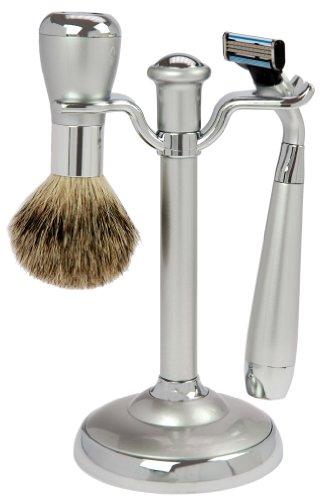 Fantasia - 81013 - Set de rasage - Blaireau véritable - Lames Mach 3 - Argenté - Hauteur: 17 cm