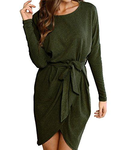 StyleDome Damen Langarm O-Neck mit Gürtel Bandage Tasche Unregelmäßig Split Wrap Casual Boho Kleider Grün L