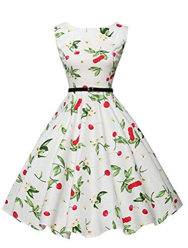 MatchLife Femme Slim Fit Vintage Rockabilly Robe de Soirée Blance Floral