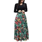 Bluestercool - Abito lungo da donna, alla moda, stile boho, con stampa floreale, a maniche lunghe, elegante, casual, scollo rotondo Medium Vert-2