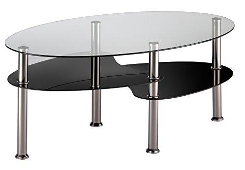 Table basse plateaux en verre trempé, 100x60x41,5cm -PEGANE-