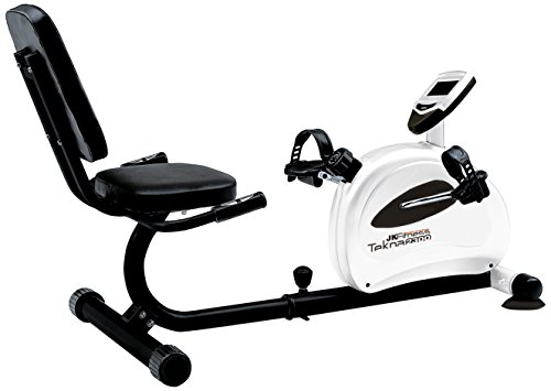 JK Fitness Tekna 2300 Cyclette Orizzontale Magnetica, Bianco/Nero