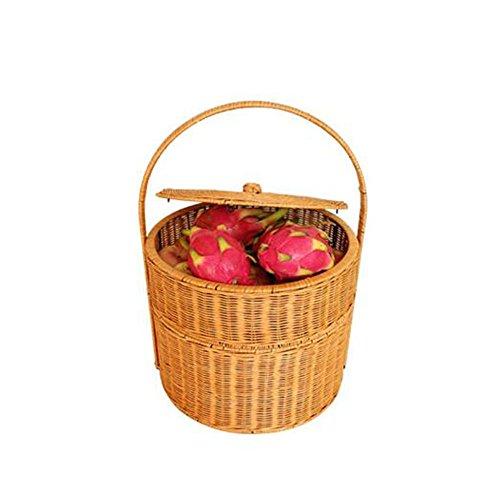 Mit Deckel Rattan-Speicher-Korb Picknick-Korb, 2 Farben erhältlich ( Farbe : A ) (Rattan-speicher-körbe 2)