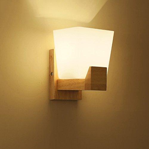 Lampe de chevet à lampe murale LED simple lambris de couloir en bois moderne