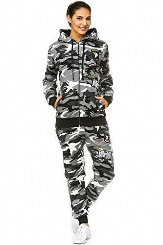 Damen Jogging-Anzug USA-Patches 685 (M-fällt groß aus, Grau-Camouflage) (Hosen-anzug Grau Damen)