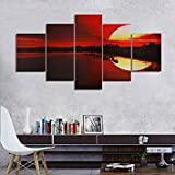 Meet The World 5PCS Frameless Canvas Painting Red Dusk Lakeside Picture Modern Wall Art Home Décor