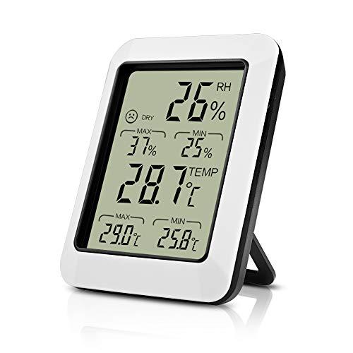 Opard Thermometer Hygrometer innen Thermometer digital Raumthermometer temperatur und luftfeuchtigkeitsmesser mit Min/Max Aufzeichnungen(weiß)