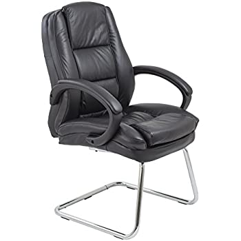 Office Hippo Executive Visitor Chair, Leather Faced, Black