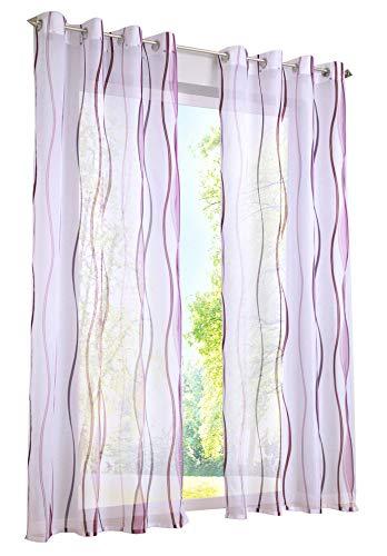 BAILEY JO 1er-Pack Gardinen mit Wellen Druck Design Vorhang Transparent Voile Vorhänge (BxH 140x175cm, Violett mit Ösen)