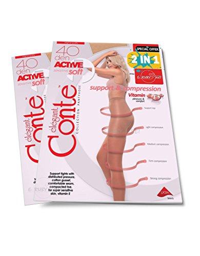 CONTE ELEGANT 2-Pack Women s modeling tights 40 Den Colour-Natural Size-L dd342fb8586