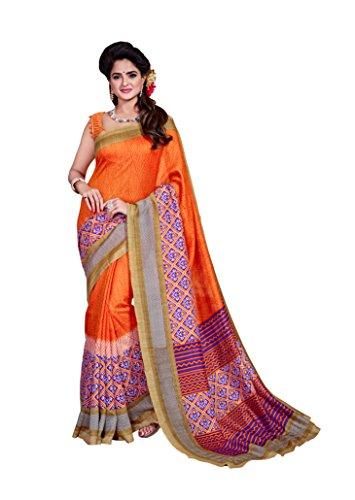 Dream Beauty Fashion Sarees Daily Wear Stripe & Geometric Print Orange Color Cotton Sari With Blouse(Malgudi--4013)