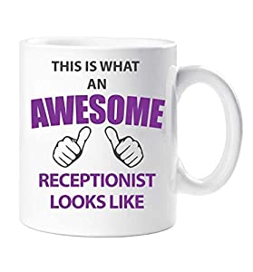 recepcionistas: This Is What an Awesome RECEPCIONISTA Looks Like Taza Regalo Taza Cumpleaños Nav...
