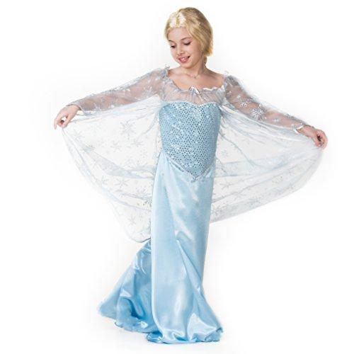 leid für Mädchen – Eisprinzessin Elsa – Karnevals-Kostüm für 3-12 Jahre – top Qualität – Die schönste Prinzessin an Karneval, Fasching, Fastnacht (Größe:128) (Gute Disney-halloween-kostüme)