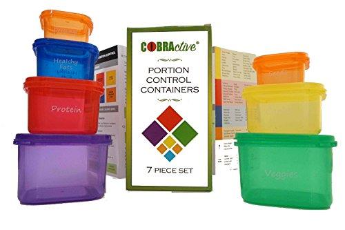 21Tag Fix und Wahnsinn Ernährung 100% kompatibel 7teilig Teil Kontrolle Mahlzeit Prep Container. Funktioniert Best-Gesunde Diät-Guide. Bonus Aufbewahrungstasche. mehrfarbige Kodiert gekennzeichnet System mit Gebrauchsanweisung-Zusätzliche 7Stück Kit für Kalorien Kontrollierte Gewicht Verlust. Kids Snack Boxen Geschenk. BPA-frei - Portion Control Kit