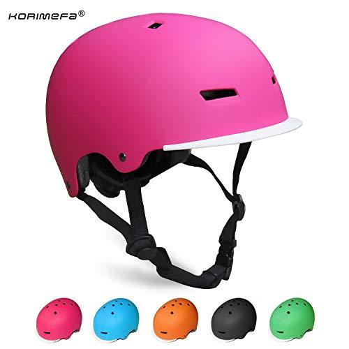 KORIMEFA Casque de Trottinette pour Enfants 3-13 Ans Casque Vélo pour Bébés Filles Garçons Protection Cyclisme BMX Skateboard Sports (Rose, M)