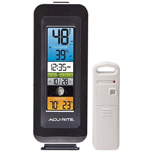 AcuRite 00384rm Wetterstation mit Innen-/Temperatur, Luftfeuchtigkeit intelli-time Uhr und Moon Phase - Acu-rite Wireless Thermometer
