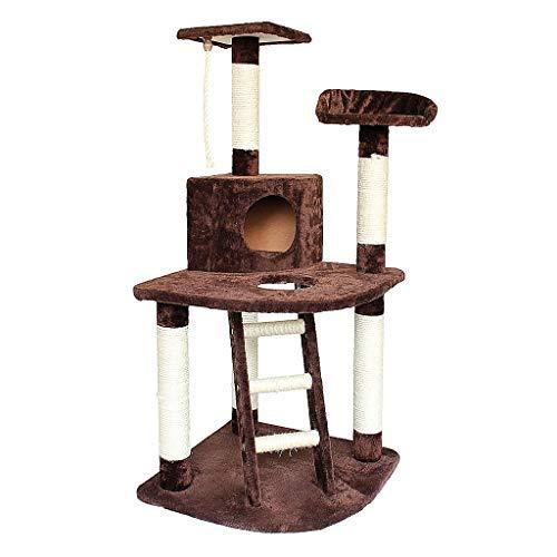 Todeco - Albero per Gatti, Alberi Tiragraffi per Gatti - Materiale: MDF - Dimensione casa per Gatti: 30,0 x 30,0 x 24,9 cm - Marrone, 120 cm, 4 Piattaforme