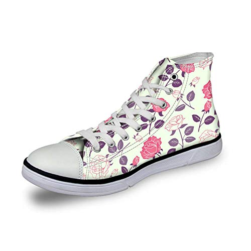Floral Ladies Womens Flat Canvas High Top Lace Up Trainers Sports Plimsolls Pump floral EU 36