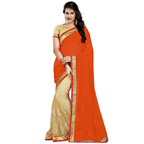 Sarees (FinixFashion Women's Clothing Georgette Net Embroidered Bollywood Style Designer Wear Low Price Sale Offer buy online in New Beautiful Sarees Best Offer For Women Party Wear Fashion Designer Sarees With Havy Work) (Orange)  available at amazon for Rs.799